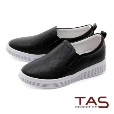 TAS異材質拼接壓紋牛皮休閒鞋-百搭黑