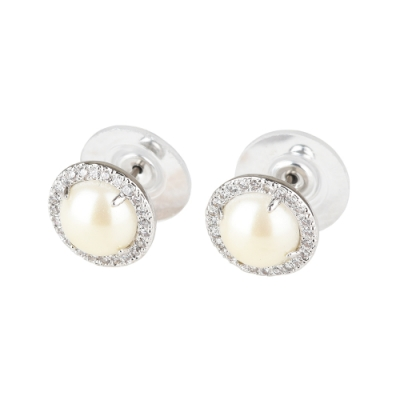 kate spade Bright Idea圓形珍珠設計鑽鑲飾穿式耳環(銀x白)