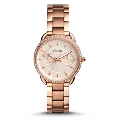 FOSSIL 臻藏晶鑽雙色玫瑰金手錶(ES4264)-白/34mm