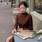 MERONGSHOP  咖啡牛奶素雅小高領針織毛衣(共二色)