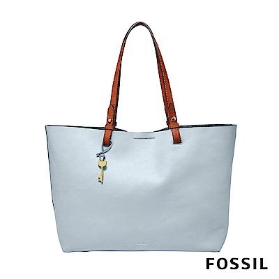 FOSSIL Rachel 極簡風格撞色托特包-粉藍色