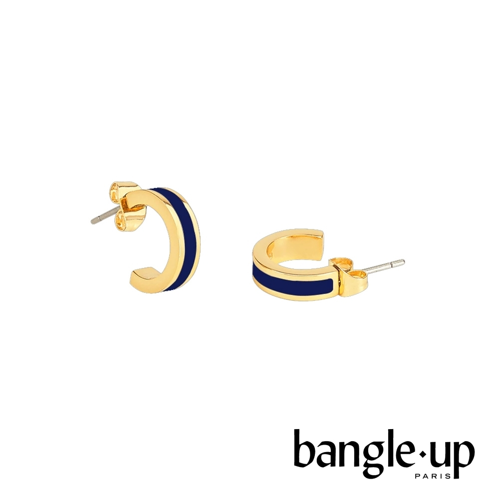 BANGLE UP 復古經典琺瑯鍍金迷你耳環 -午夜藍