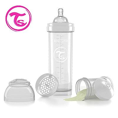 Twistshake 瑞典時尚 彩虹奶瓶/防脹氣奶瓶330ml/奶嘴口徑1mm-星鑽白