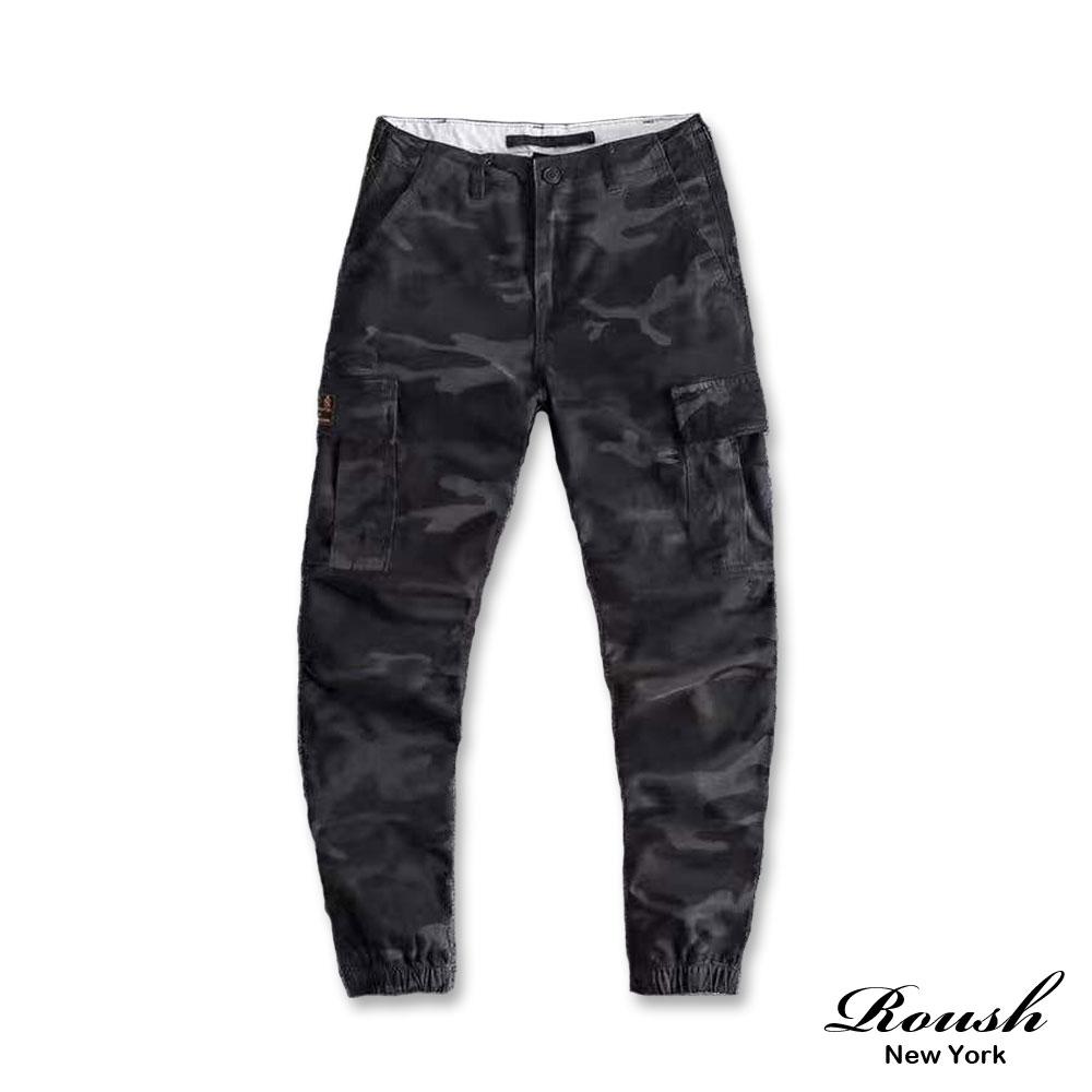 Roush (迷彩)高磅數雙口袋水洗工作縮口褲(4色)