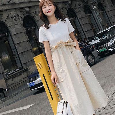 假兩件拼接收腰短袖洋裝 (共二色)-Kugi Girl