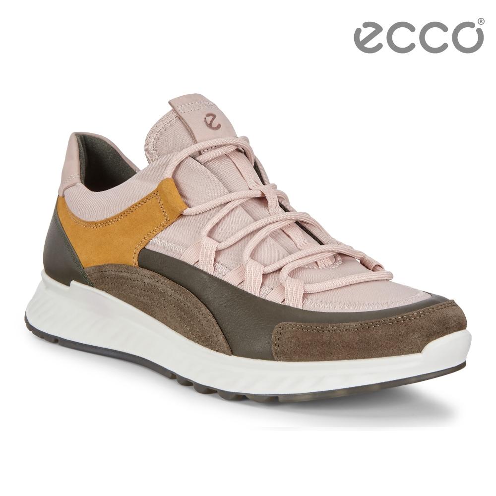 ECCO ST.1 W 舒適動能拼色戶外運動鞋 女-裸粉/森綠/黃棕色