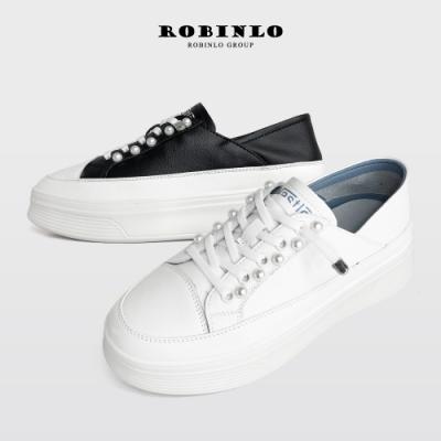 Robinlo高端經典款珍珠真皮厚底小白鞋 米白/黑