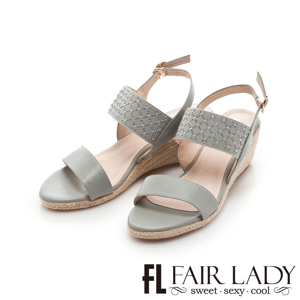 Fair Lady 水鑽拼接一字草編楔型涼鞋 灰