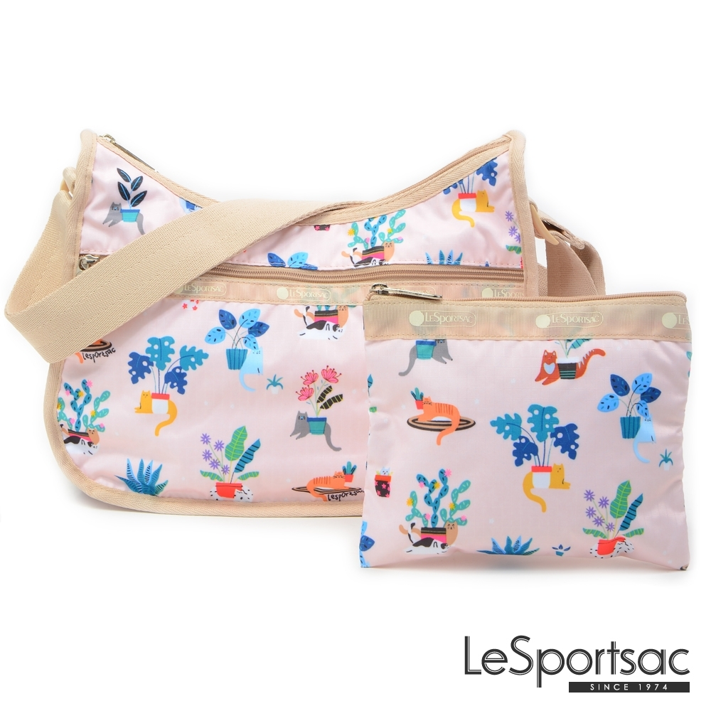 LeSportsac - Standard側背水餃包/流浪包-附化妝包 (悠閒小貓)