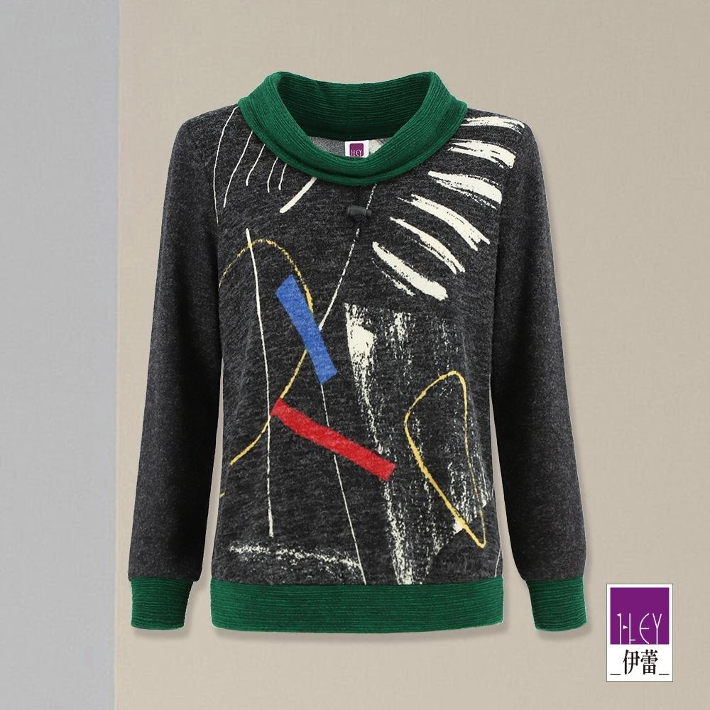 ILEY伊蕾 手繪塗鴉抽繩造型領針織上衣(鐵灰)