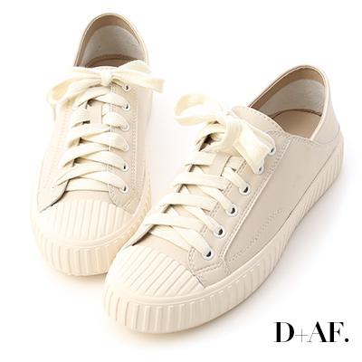 D+AF 舒服漫步.可後踩2way皮質餅乾鞋*杏