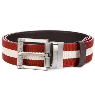 BALLY   紅白條紋牛皮帆布拼接皮帶  (咖啡色)