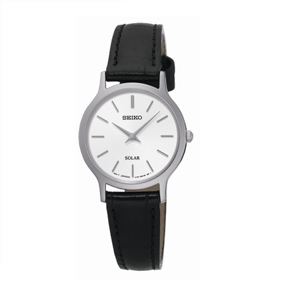 SEIKO CS極簡風格時尚腕錶/小碼/白面x黑皮/V115-0BS0S