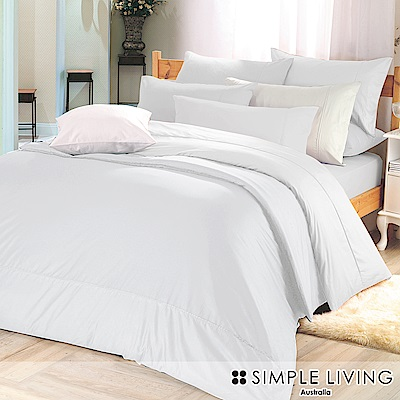 澳洲Simple Living 雙人300織台灣製純棉床包枕套組(優雅白)