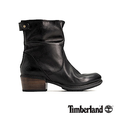 Timberland 女款黑色全粒面皮革休閒低跟靴|A1SDF
