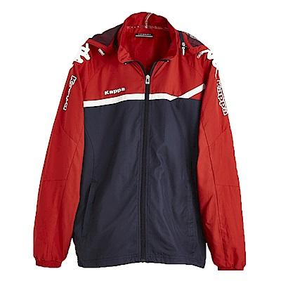 KAPPA義大利時尚男單層慢跑風衣(可拆帽網布內裡 )-新丈青 紅