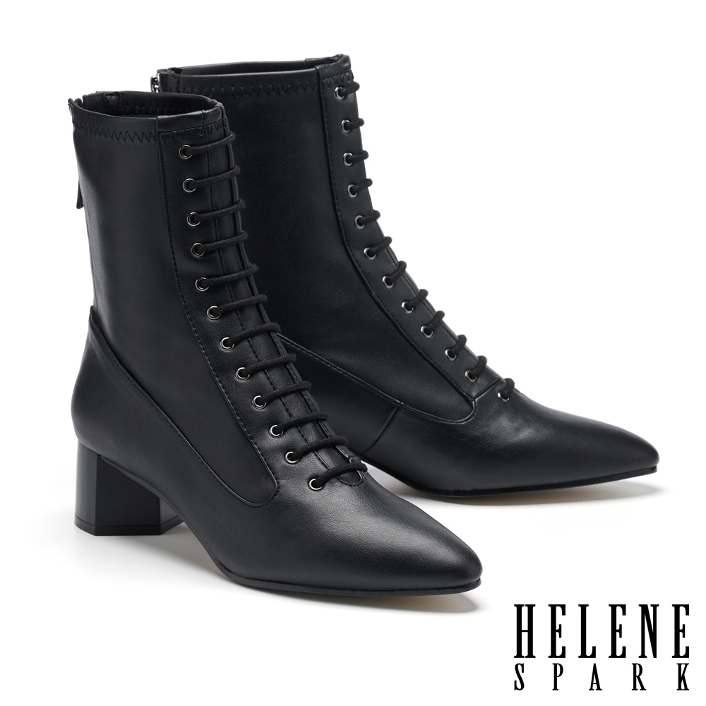 短靴 HELENE SPARK 復古時髦綁帶尖頭彈力皮革粗高跟短靴-黑