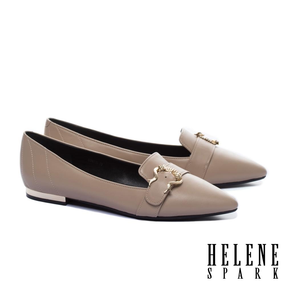 平底鞋 HELENE SPARK 時尚質感造型飾釦全真皮尖頭平底鞋-米