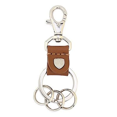 DAKS 經典家徽金屬LOGO皮革鑰匙鎖圈-駝色