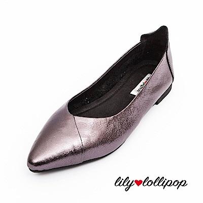 Lilylollipop 超軟金屬炫光平底鞋--鐵灰色
