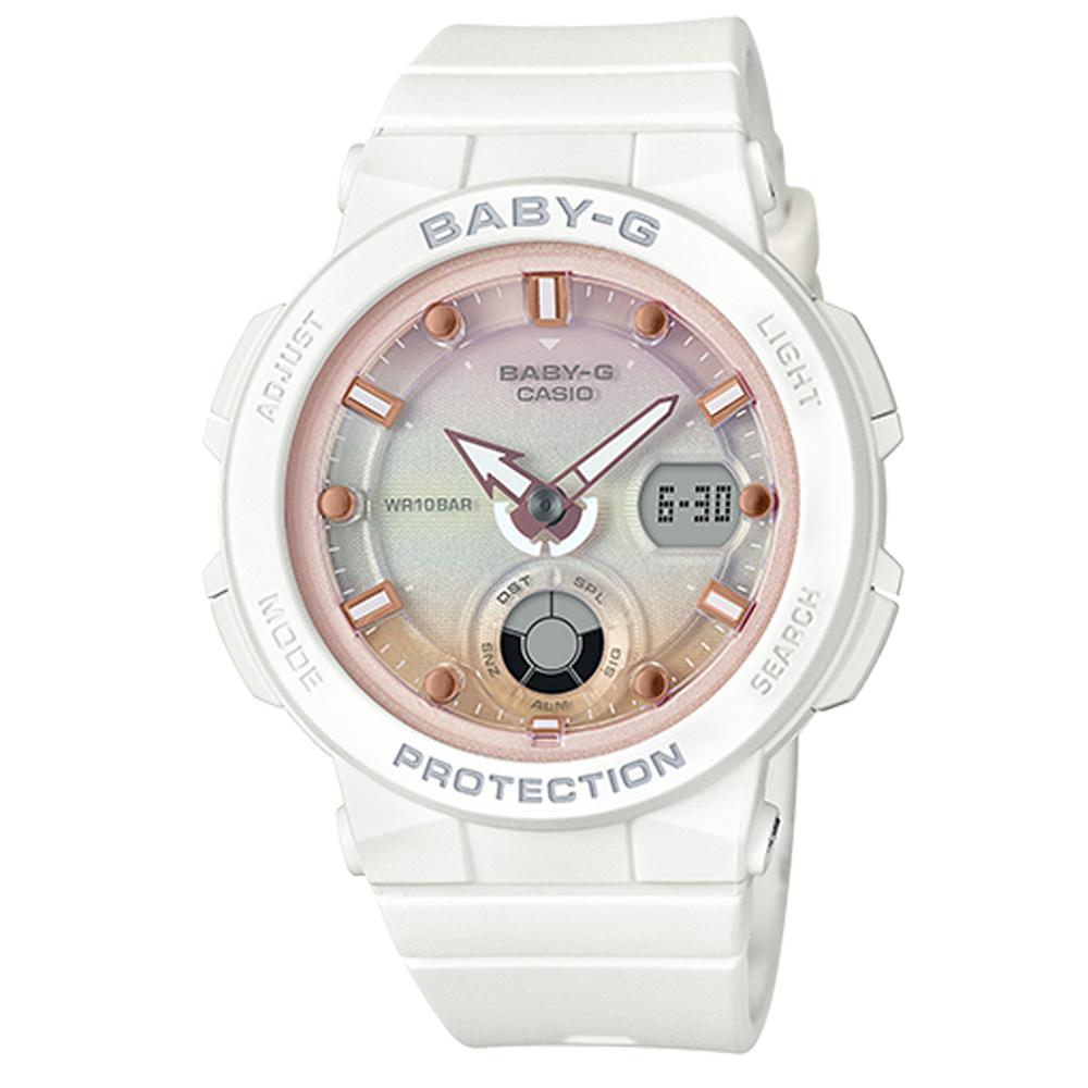 BABY-G 熱愛海洋風格船舵概念設計霓虹照明運動錶(BGA-250-7A2)粉紅面41mm
