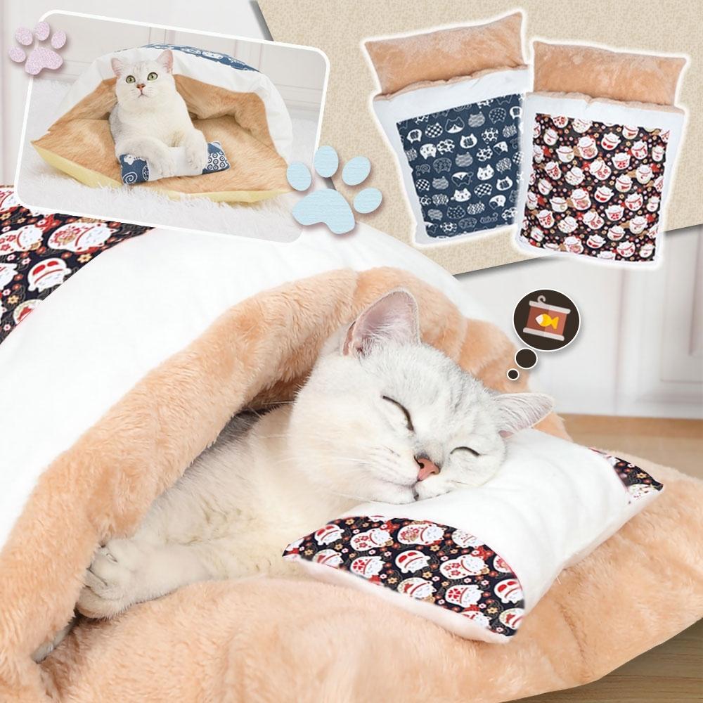 和風貓咪寵物睡袋睡窩(L號)65x45cm