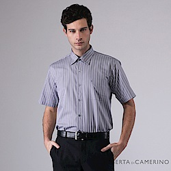 ROBERTA諾貝達 台灣製 夏日百搭 簡約條紋短袖襯衫 灰紫