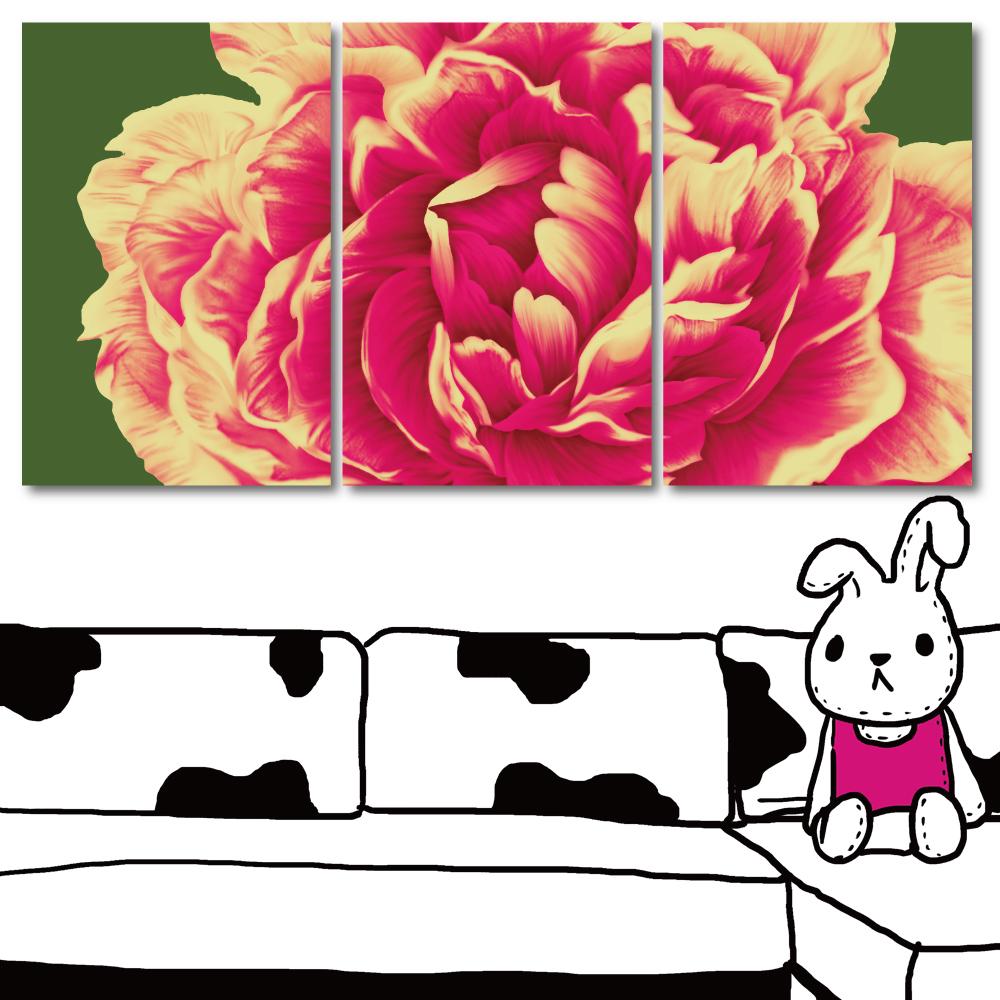 24mama掛畫 三聯式 時尚無框掛畫-花溢香40x60cm
