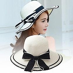 米蘭精品 草帽防曬遮陽漁夫帽-時尚拼色優雅氣質女帽子母親節禮物73rp110