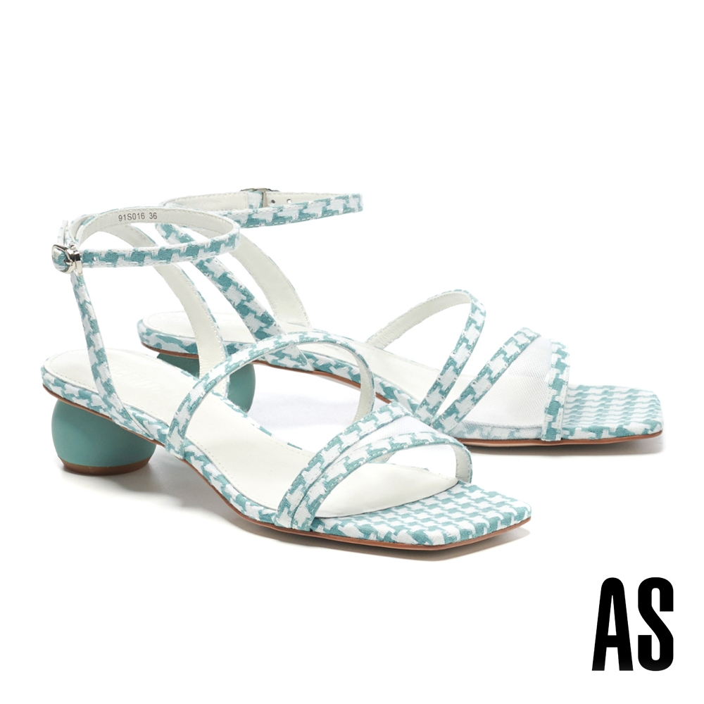 涼鞋 AS 微透視覺網紗簍空繫帶造型格紋布方頭低跟涼鞋-藍