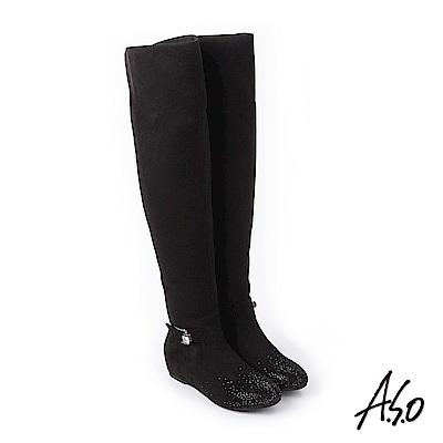 A.S.O 簡約主義 釦環裝飾細緻絨面長靴 黑