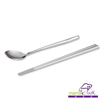 義大利Mama Cook 食在安心頂級316全不鏽鋼筷匙2件組(筷子+湯匙)(快)
