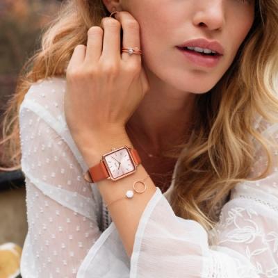 CLUSE La Tetragone 方框腕錶(玫瑰金框/橘色皮革錶帶)28.5mm