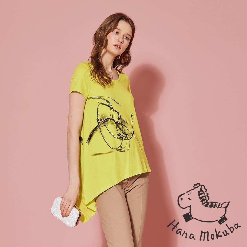 Hana+花木馬 手繪印花前短後長不規則造型上衣-山陽黃