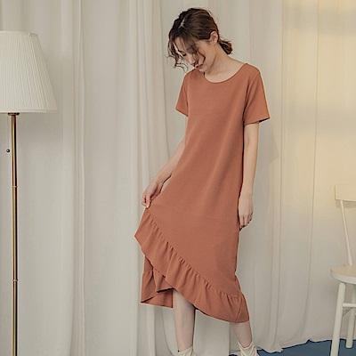 純色層次波浪裙襬拼接短袖圓領長洋裝-OB大尺碼