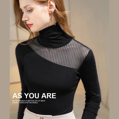 專注內搭-高領網紗素色性感內搭上衣長袖T恤(S-3XL可選)