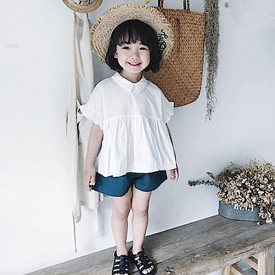 小衣衫童裝  女童夏季套裝娃娃款秀氣白上衣短褲套裝1080202
