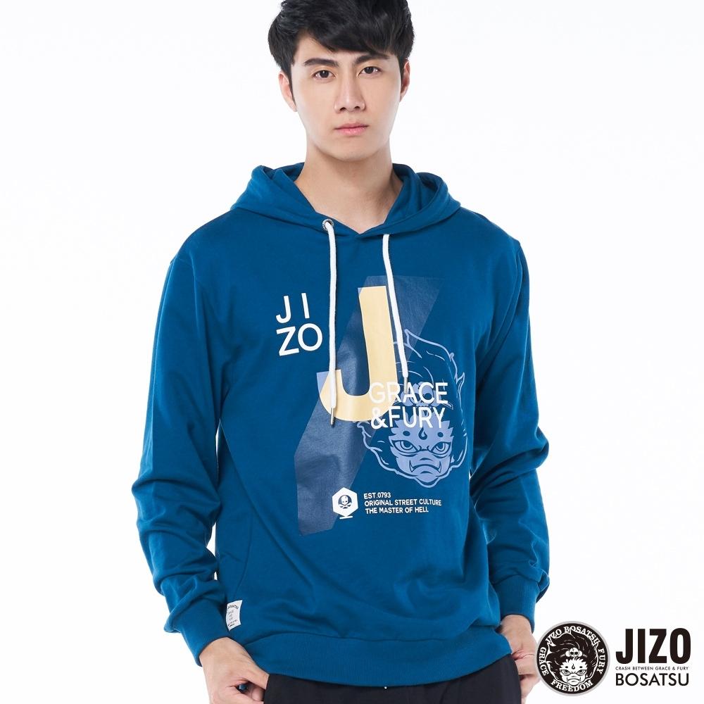 地藏小王 BLUE WAY –斜壓條文字厚帽長TEE(深藍)