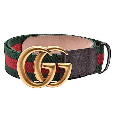 GUCCI 經典仿舊金色金屬雙G LOGO綠紅綠織帶牛皮釦式腰帶/皮帶(深棕)