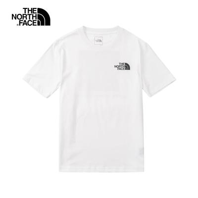 The North Face北面男款白色背部LOGO印花圓領短袖T恤 5AZEFN4