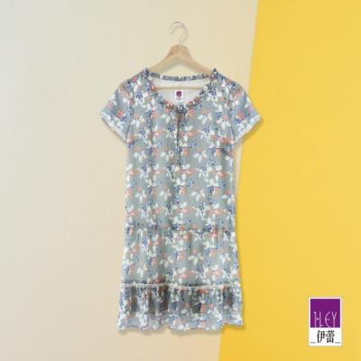 ILEY伊蕾 典雅藍莓印花紋理感雪紡洋裝(灰)