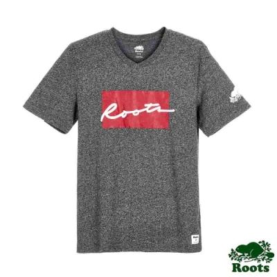 男裝Roots-Script格子短袖T恤-深灰色