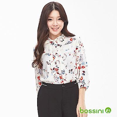 bossini女裝-圖案7分袖襯衫01米白