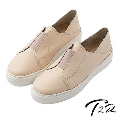 【T2R】真皮手工簡約時尚懶人鞋-粉