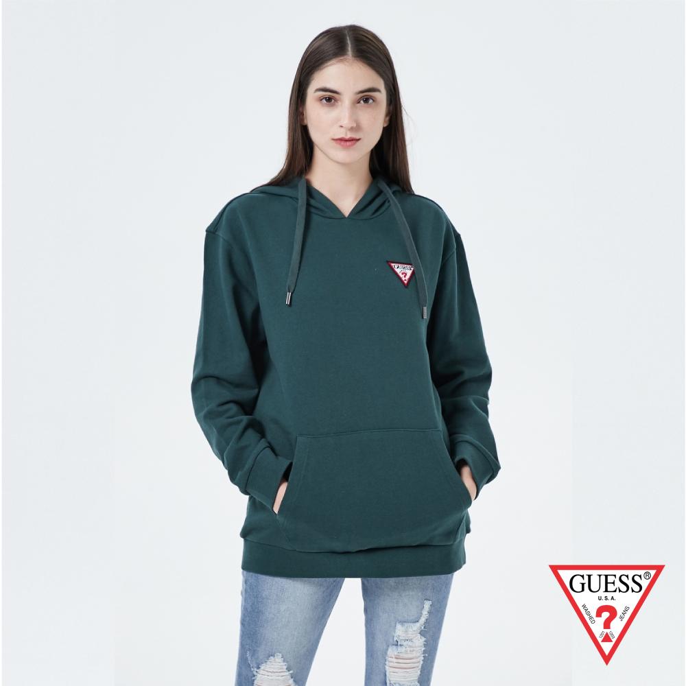 GUESS-女裝-純色經典倒三角LOGO小標長袖帽T-綠 原價3990