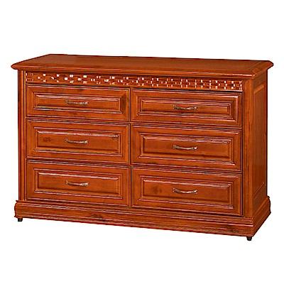 綠活居 艾比頌時尚4.5尺實木六斗櫃/收納櫃-135x53.1x84.9cm-免組