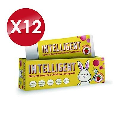(12入組)Intelligent 因特力淨 兒童酵素牙膏 (草莓優格) 40gX12