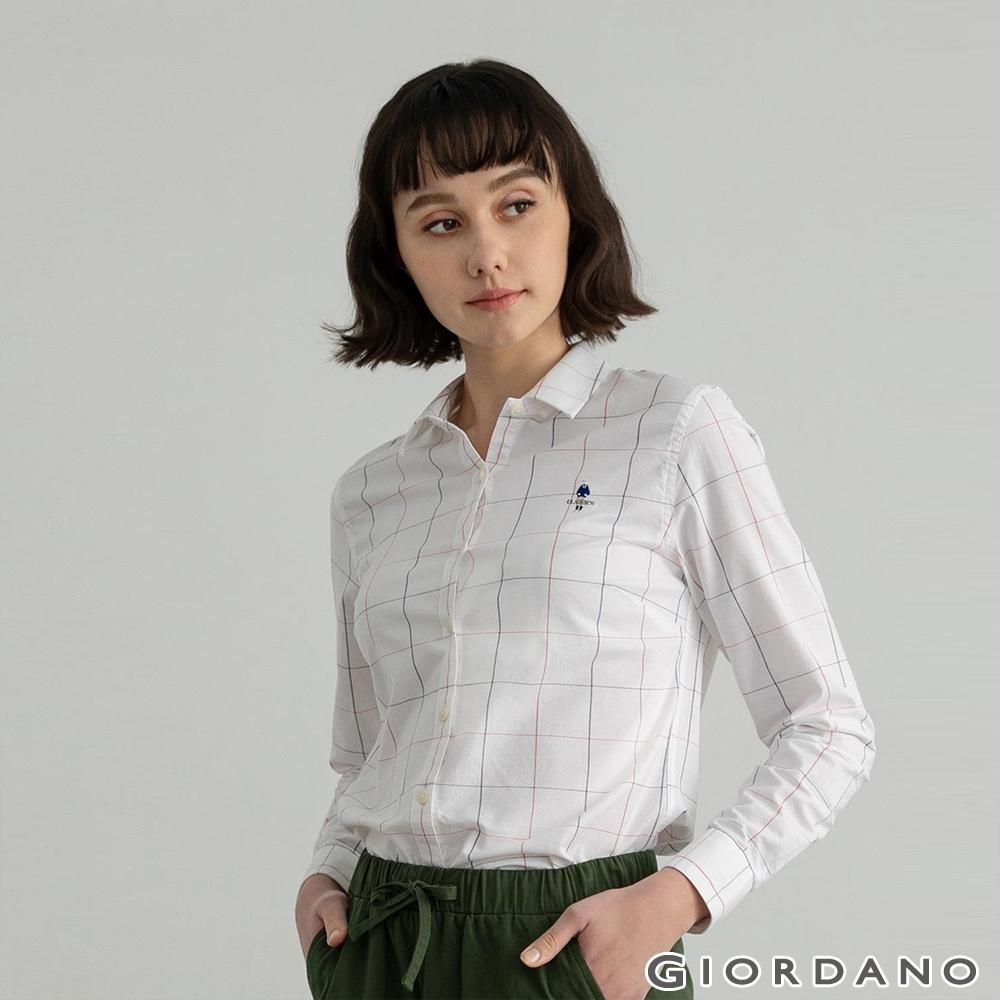 GIORDANO 女裝四季百搭彈力牛津紡襯衫 - 73 白X紅藍格紋