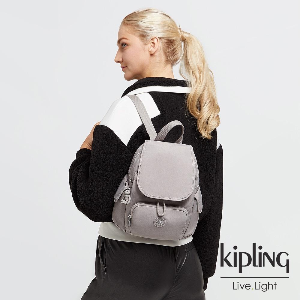 Kipling 溫柔沉穩灰拉鍊掀蓋後背包-CITY PACK MINI