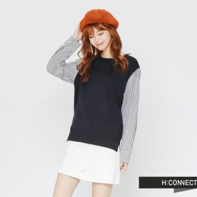 H:CONNECT 韓國品牌 女裝-條紋拼接薄針織上衣-藍(快)